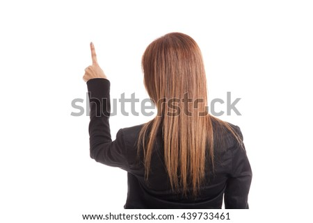 Back of Asian business woman touching the screen with her finger isolated on white background  isolated on white background - stock photo