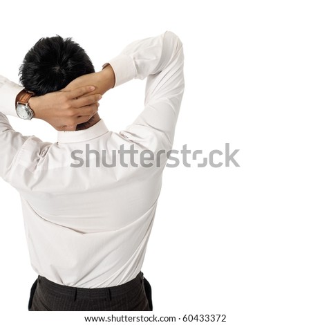 Back of business man at leisure with copyspace on white. - stock photo