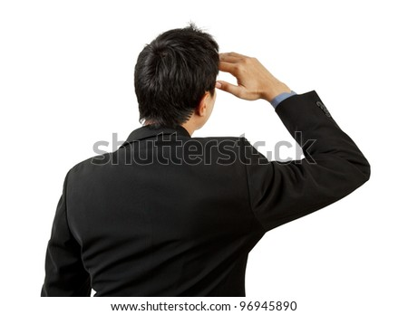back of businessman looking on white background - stock photo