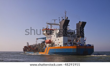 Back of dredger Geopotes 14 - stock photo