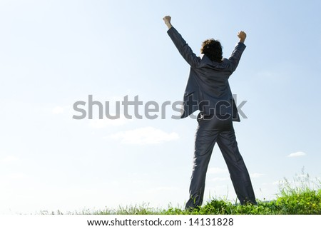 Back of happy businessman standing with raised arms on green grass on the background of azure sky - stock photo