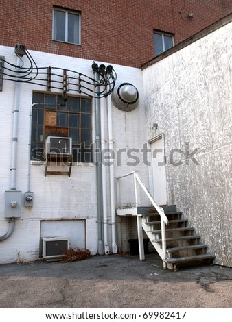 Back of Industrial Factory Building - stock photo