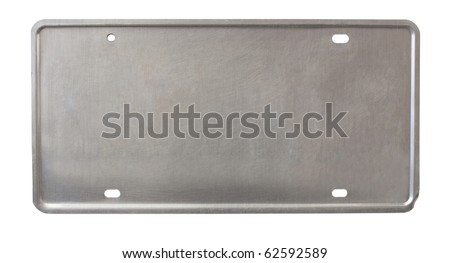 back of license plate - brushed metal - stock photo