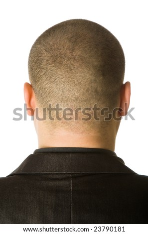 Back of male head. Isolated on white background
