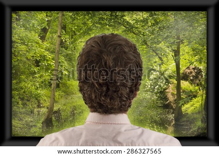 Back of man's head as he's watching flat screen television  - stock photo