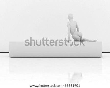 Back of mannequin on the bench - stock photo