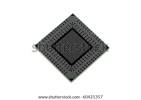Back of modern microprocessor isolated on pure white - stock photo