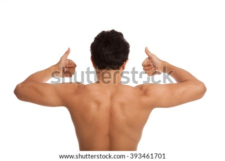 Back of muscular Asian man flexing biceps show thumbs up  isolated on white background