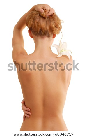 back of nude beautiful girl with flower isolated on white background - stock photo