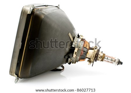 Back of old television cathode tube isolated on white - stock photo