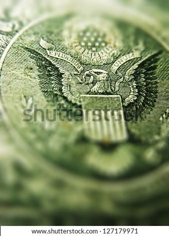 Back of one dollar bill. Tilt-shift lens use. - stock photo