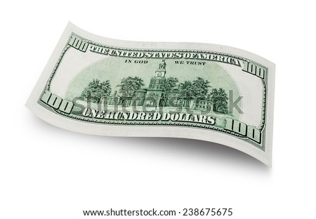 Back of one hundred dollars banknote isolated on white background  - stock photo
