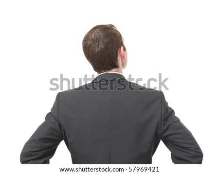 back of pensive businessman looking up isolated on white background - stock photo