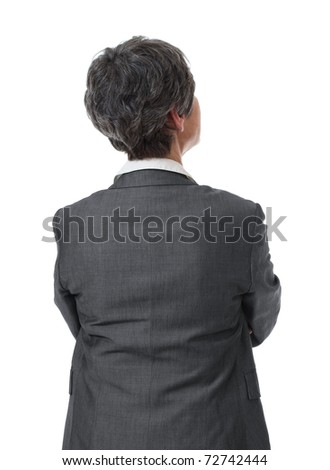 back of pensive mature businesswoman looking up isolated on white background