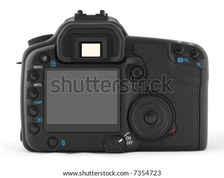 Back of professional digital photo camera - stock photo