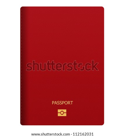 back of red passport isolated on white background - stock photo