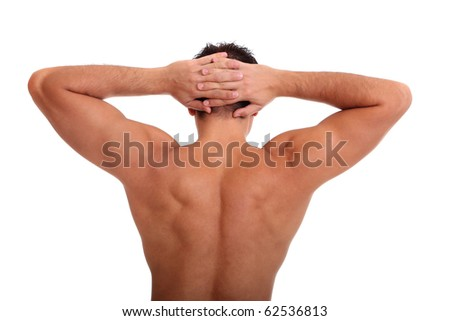 Back of sexy muscular man, isolated on white - stock photo