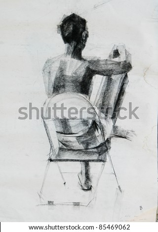 back of sitting human charcoal drawing - stock photo