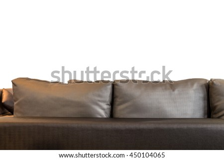 Back of sofa in living room on white background - stock photo
