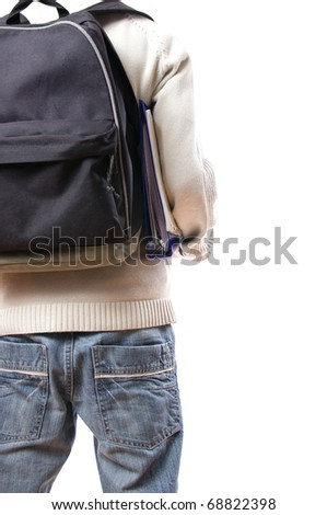 back of student with rucksack isolated on white background