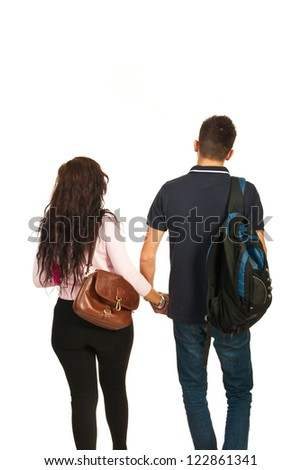 Back of students couple going school isolated on white background