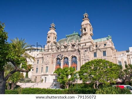 back of the grand casino in monte carlo, monaco - stock photo