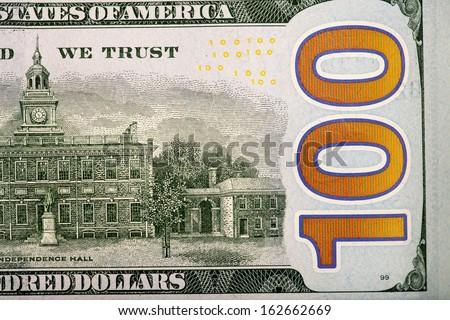 Back of the new U.S. 100 dollar bill - stock photo