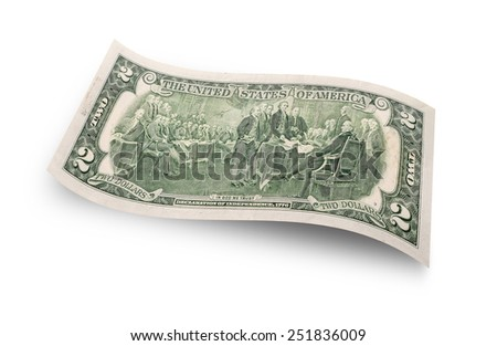 Back of two dollar banknote isolated on white background  - stock photo