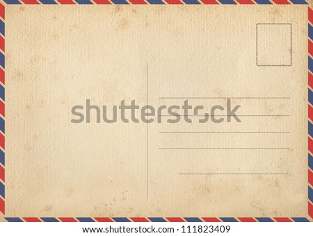 Back of vintage air mail postcard - stock photo