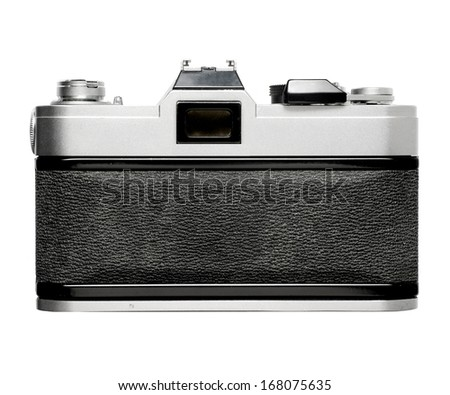 Back of vintage SLR film camera , no braning  - stock photo
