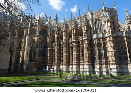 Back of Westminster Abbey in London, England on a sunny day - stock photo