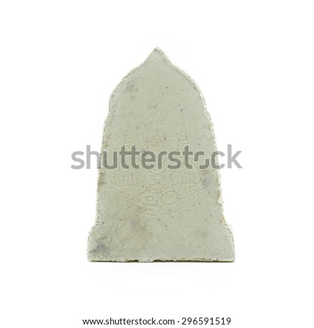 back of white Small Amulets Buddha Image - stock photo
