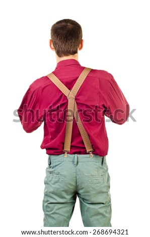 back of young man isolated on a white background - stock photo