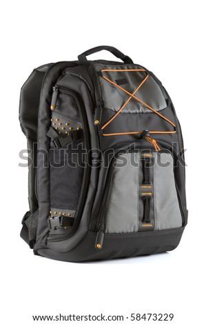 Back pack isolated on white background - stock photo