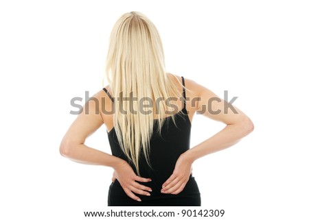 Back pain concept. Isolated on white background - stock photo