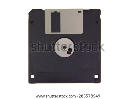 Back part of a black floppy disk isolated on white background - stock photo