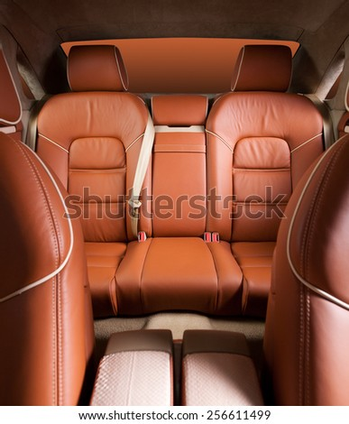 Back passenger seats in modern  comfortable car - stock photo