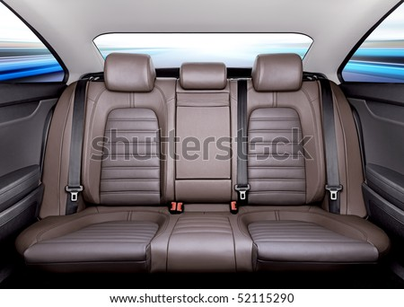 Back passenger seats in modern sport car, frontal view - stock photo
