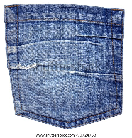 Back Pocket of Jeans, isolated on white - stock photo