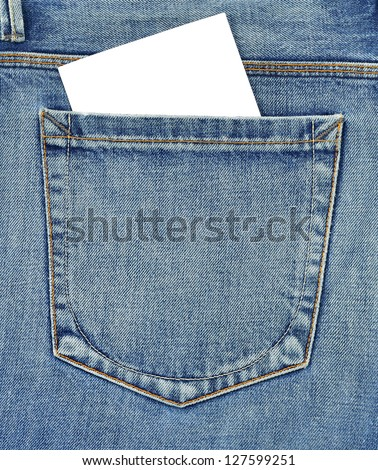 Back pocket of jeans with empty card - stock photo
