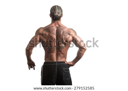 Back Rear View Tattooed Male Bodybuilder On Isolated White Background - stock photo