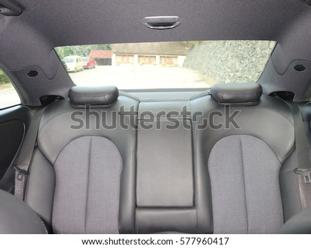 back seat luxury car leather interior stock photo 577960417 shutterstock. Black Bedroom Furniture Sets. Home Design Ideas