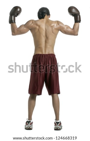 Back shot of a male boxer posing over a white background