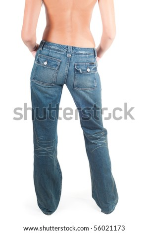 Back shot of pretty girl her jeans - stock photo
