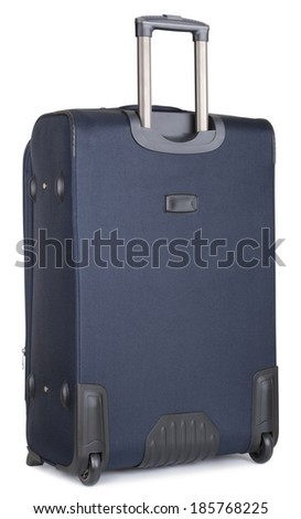 back side blue suitcase, isolated on white. clipping paths - stock photo