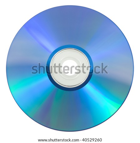 Back side of a CD. White background - stock photo