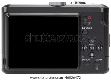 back side of a compact digital camera, with a blank, black LCD screen. Isolated on a pure white background. - stock photo