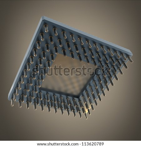 Back side of a CPU card with gold pins High resolution 3D render - stock photo