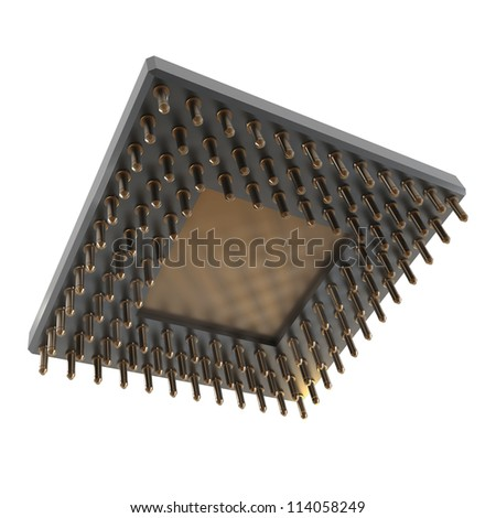 Back side of a CPU card with gold pins isolated on white background. High resolution 3D render