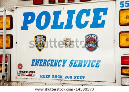 Back side of a police emergency service truck - New York City, USA - stock photo